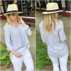 Blue striped button up